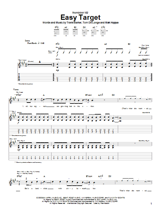 Blink-182 Easy Target sheet music preview music notes and score for Guitar Tab including 4 page(s)