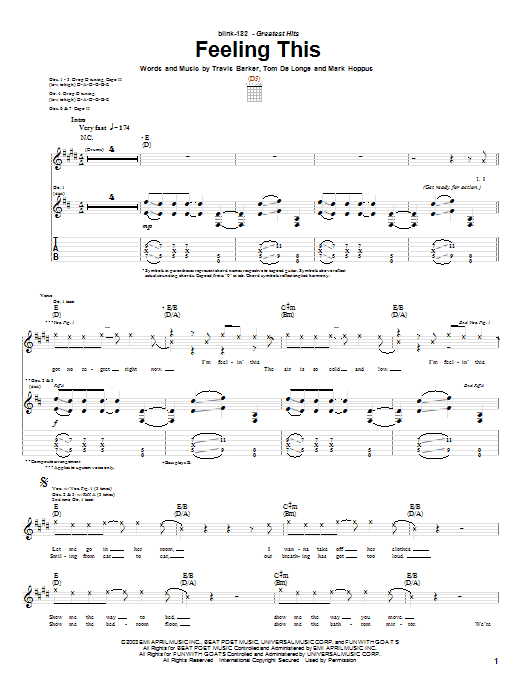 Blink-182 Feeling This sheet music preview music notes and score for Guitar Tab including 5 page(s)