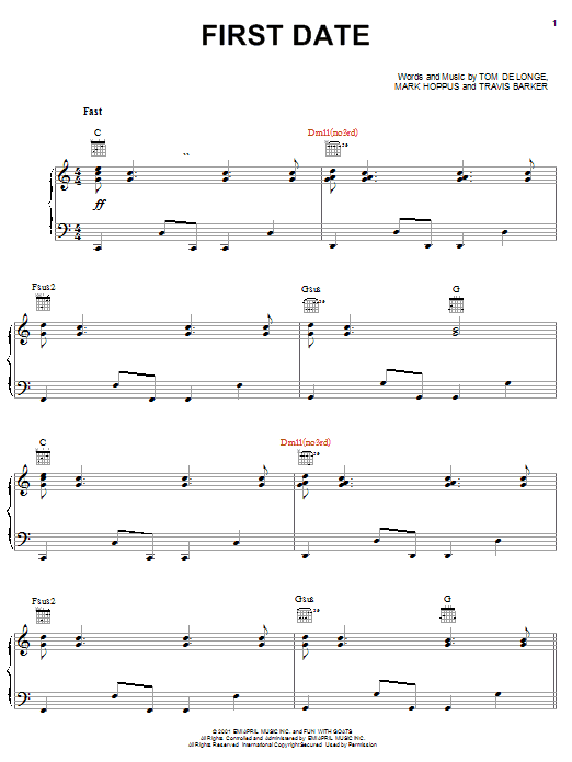 Blink-182 First Date sheet music notes and chords