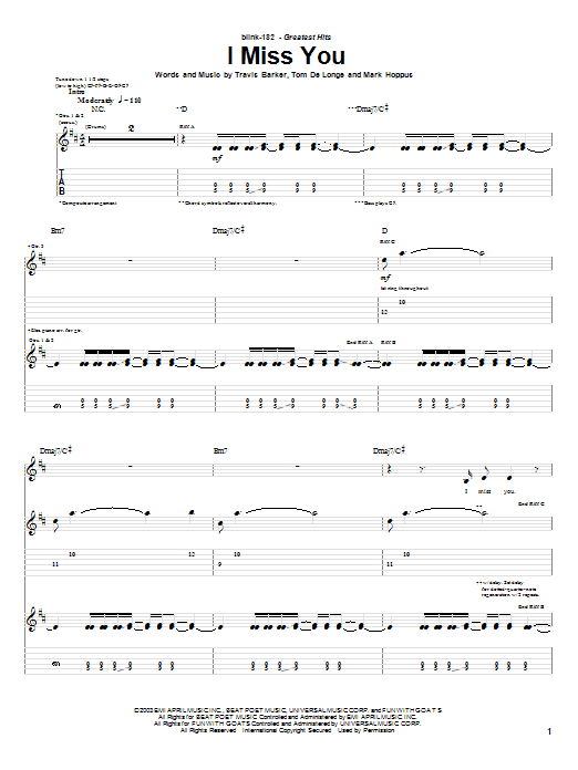 Blink-182 I Miss You sheet music preview music notes and score for Bass Guitar Tab including 4 page(s)