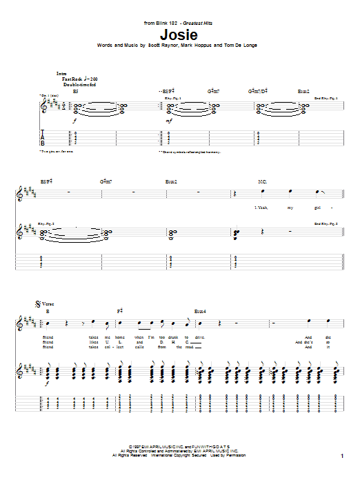 Blink-182 Josie sheet music notes and chords