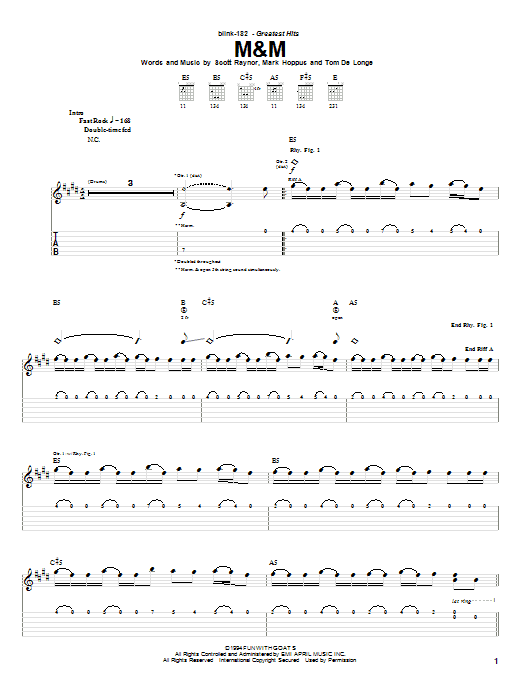 Blink-182 M&M sheet music preview music notes and score for Guitar Tab including 5 page(s)