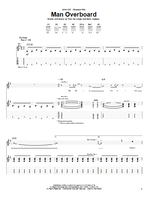 Blink-182 Man Overboard sheet music preview music notes and score for Guitar Tab including 7 page(s)