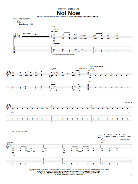 Blink-182 Not Now sheet music preview music notes and score for Guitar Tab including 9 page(s)