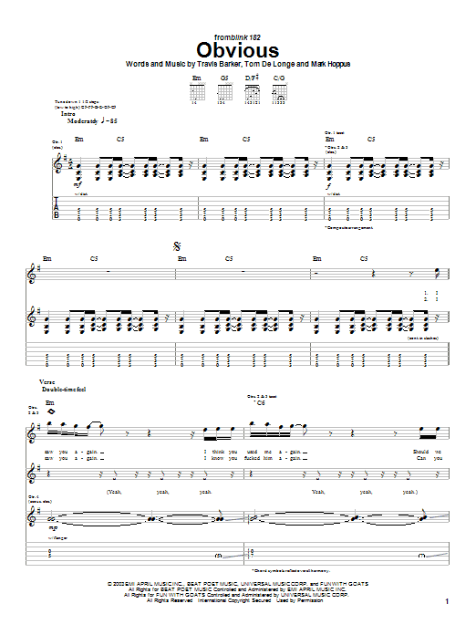 Blink-182 Obvious sheet music preview music notes and score for Guitar Tab including 5 page(s)