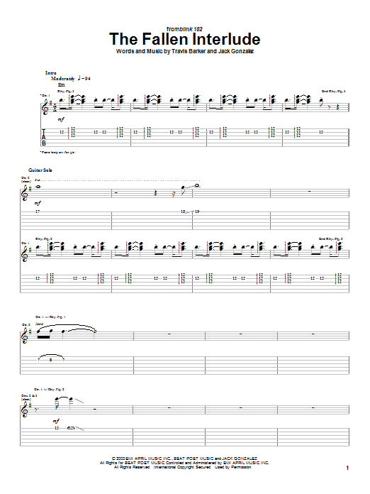Blink-182 The Fallen Interlude sheet music preview music notes and score for Guitar Tab including 3 page(s)