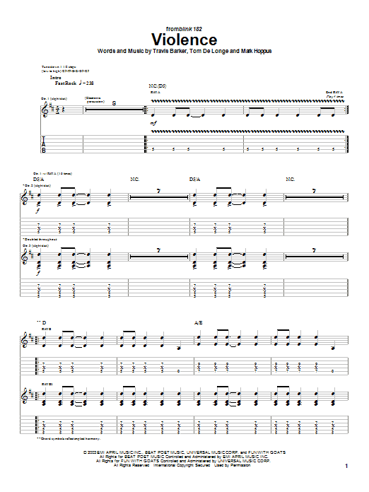 Blink-182 Violence sheet music preview music notes and score for Guitar Tab including 7 page(s)