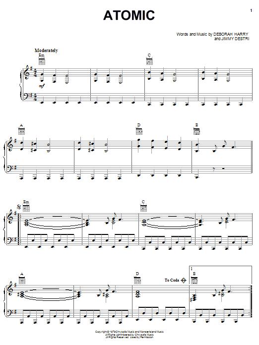 Blondie Atomic sheet music notes and chords