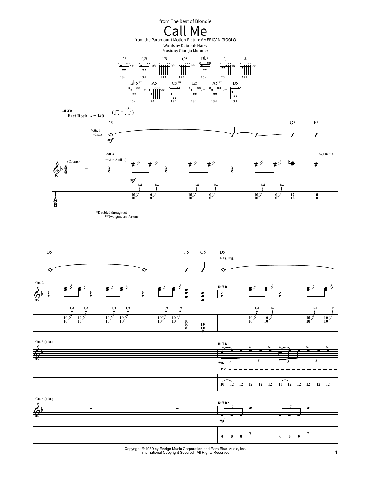 Blondie Call Me sheet music notes and chords