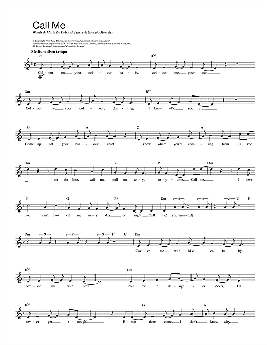 Blondie Call Me sheet music preview music notes and score for Lyrics & Chords including 3 page(s)
