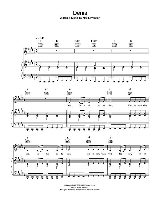 Blondie Denis sheet music notes and chords