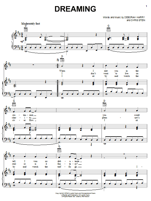 Blondie Dreaming sheet music preview music notes and score for Piano, Vocal & Guitar (Right-Hand Melody) including 4 page(s)