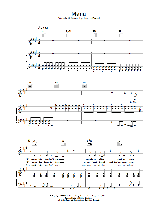 Blondie Maria sheet music preview music notes and score for Piano, Vocal & Guitar (Right-Hand Melody) including 8 page(s)