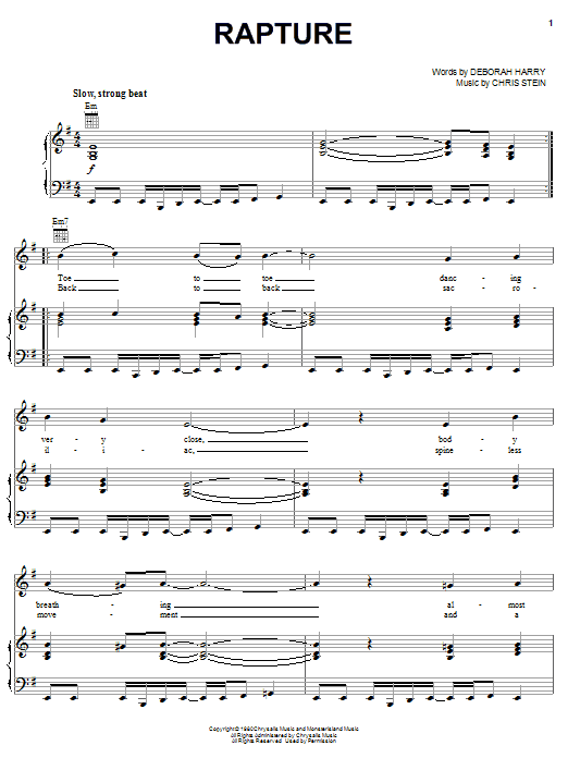 Blondie Rapture sheet music notes and chords