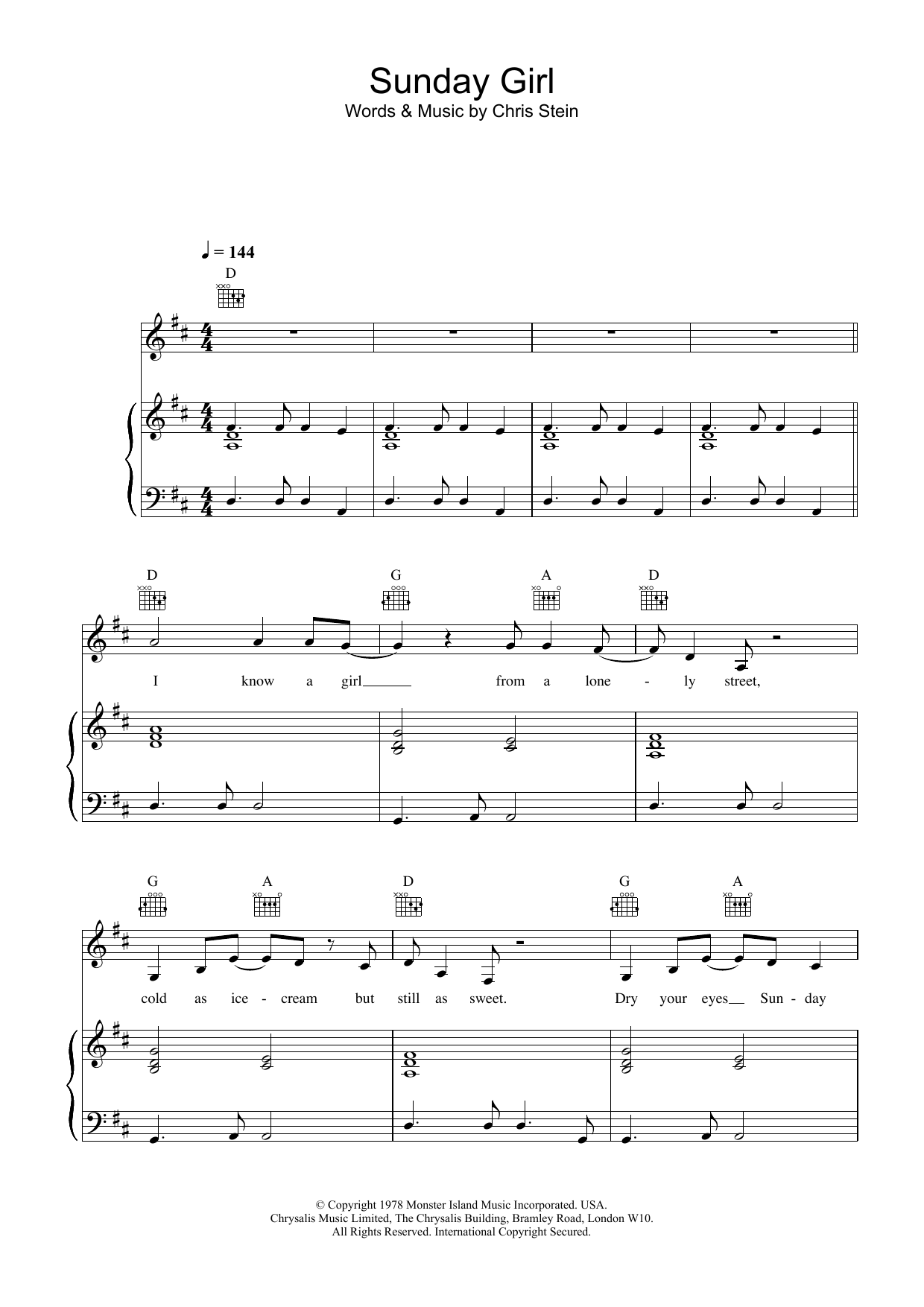 Blondie Sunday Girl sheet music preview music notes and score for Piano, Vocal & Guitar (Right-Hand Melody) including 7 page(s)
