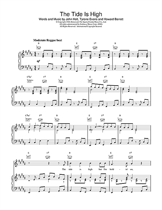 Download Blondie 'The Tide Is High' Digital Sheet Music Notes & Chords and start playing in minutes