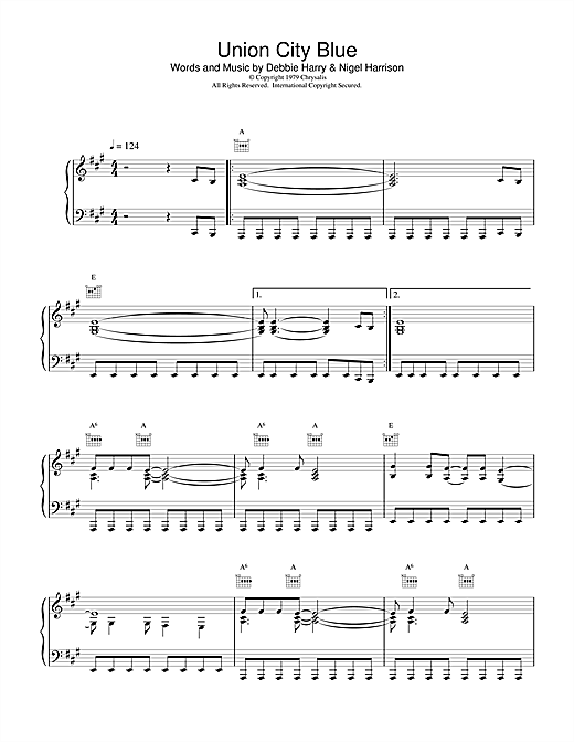 Blondie Union City Blue sheet music notes and chords