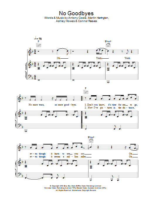 Blue No Goodbyes sheet music preview music notes and score for Piano, Vocal & Guitar including 5 page(s)