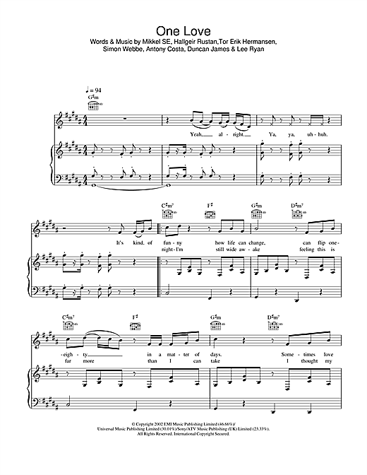 Blue One Love sheet music notes and chords