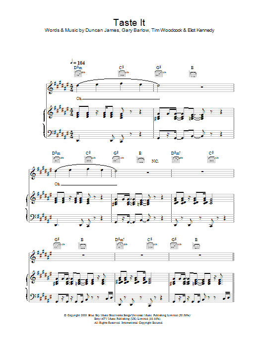 Blue Taste It sheet music preview music notes and score for Piano, Vocal & Guitar including 7 page(s)