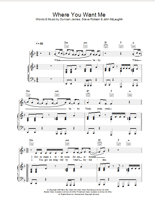 Blue Where You Want Me sheet music preview music notes and score for Piano, Vocal & Guitar including 6 page(s)