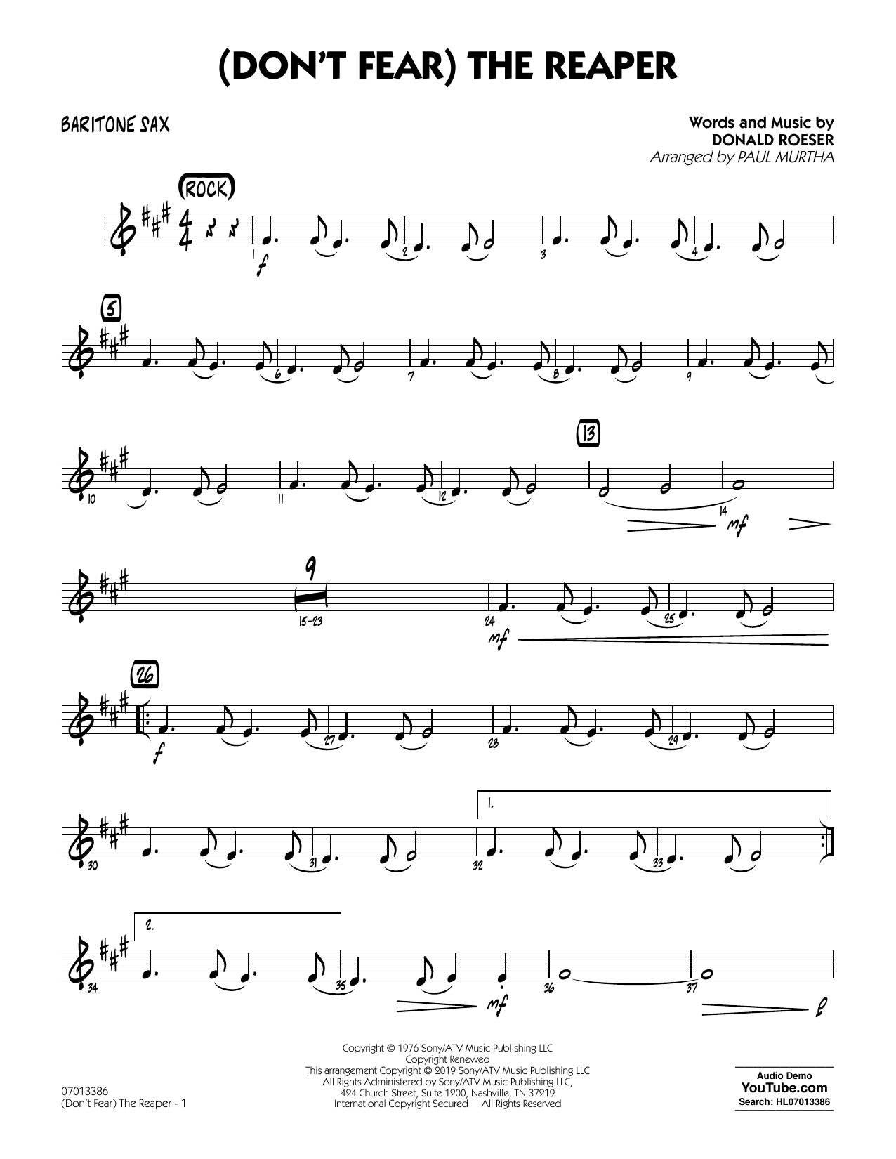 Blue Oyster Cult (Don't Fear) The Reaper (arr. Paul Murtha) - Baritone Sax sheet music preview music notes and score for Jazz Ensemble including 2 page(s)