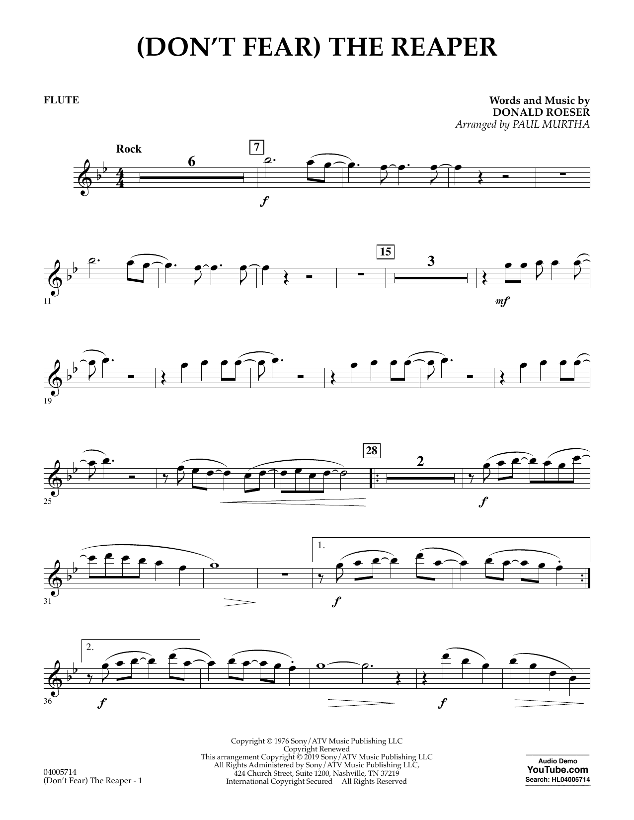 Blue Oyster Cult (Don't Fear) The Reaper (arr. Paul Murtha) - Flute sheet music preview music notes and score for Jazz Ensemble including 2 page(s)