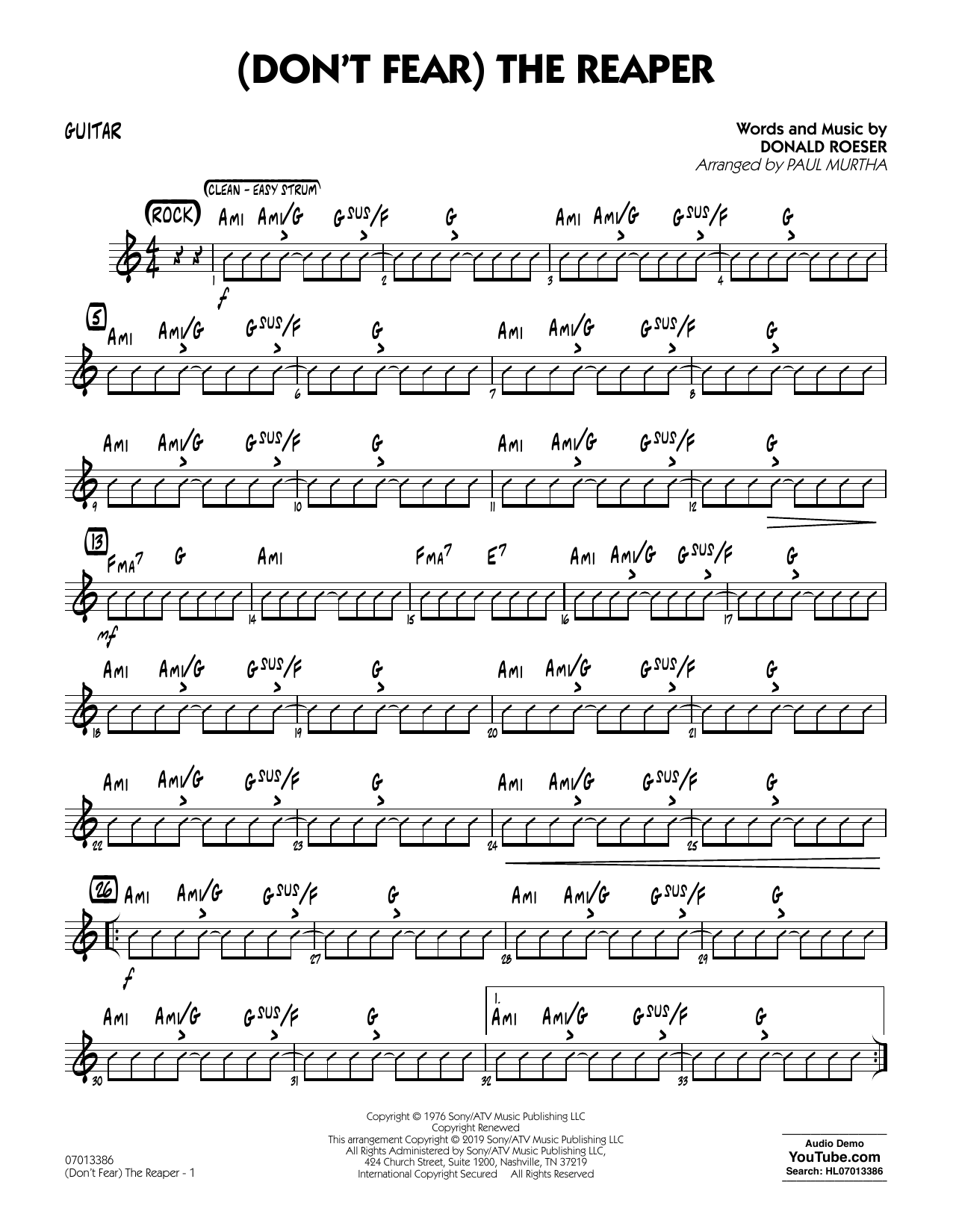 Blue Oyster Cult (Don't Fear) The Reaper (arr. Paul Murtha) - Guitar sheet music preview music notes and score for Jazz Ensemble including 2 page(s)