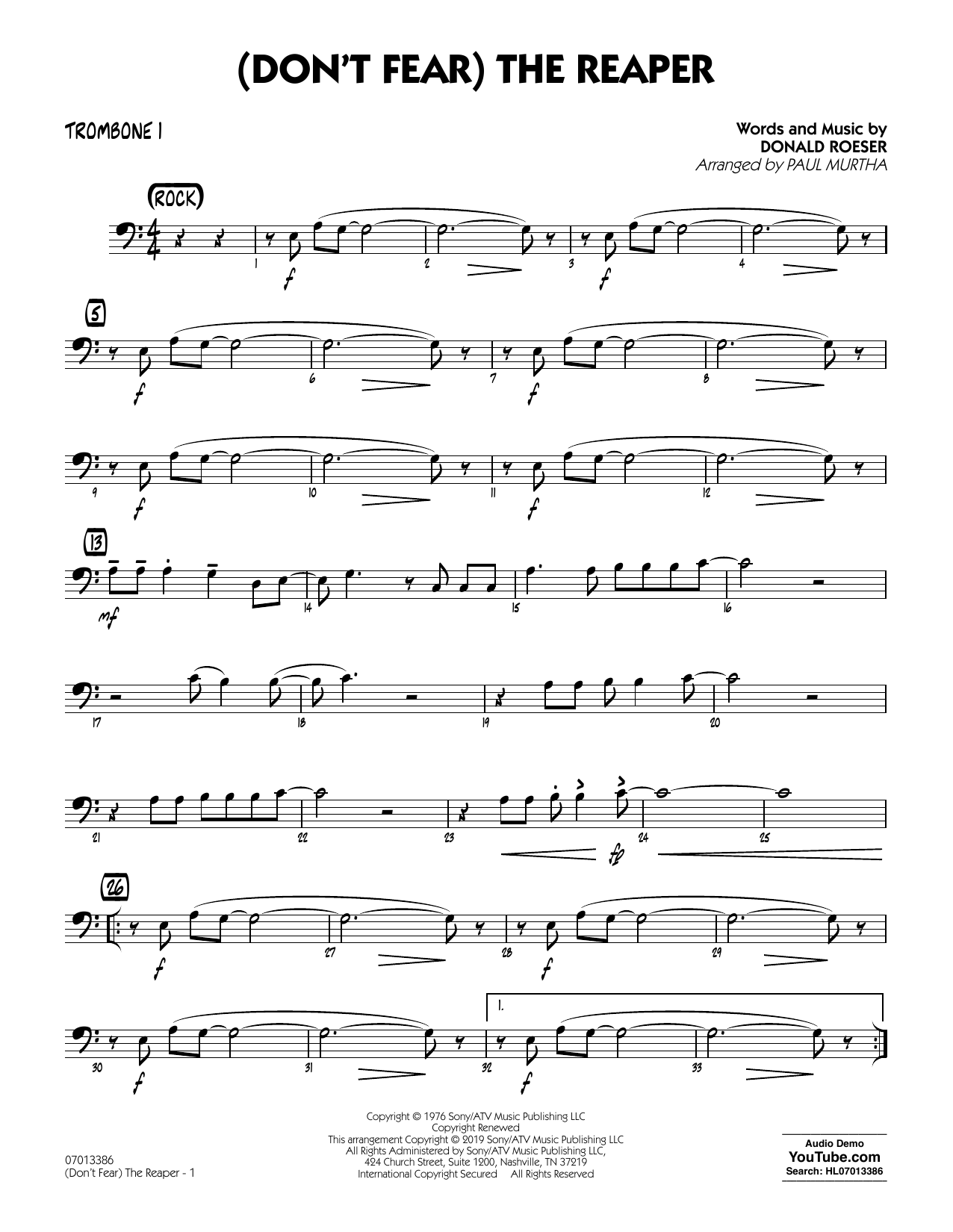 Blue Oyster Cult (Don't Fear) The Reaper (arr. Paul Murtha) - Trombone 1 sheet music preview music notes and score for Jazz Ensemble including 2 page(s)