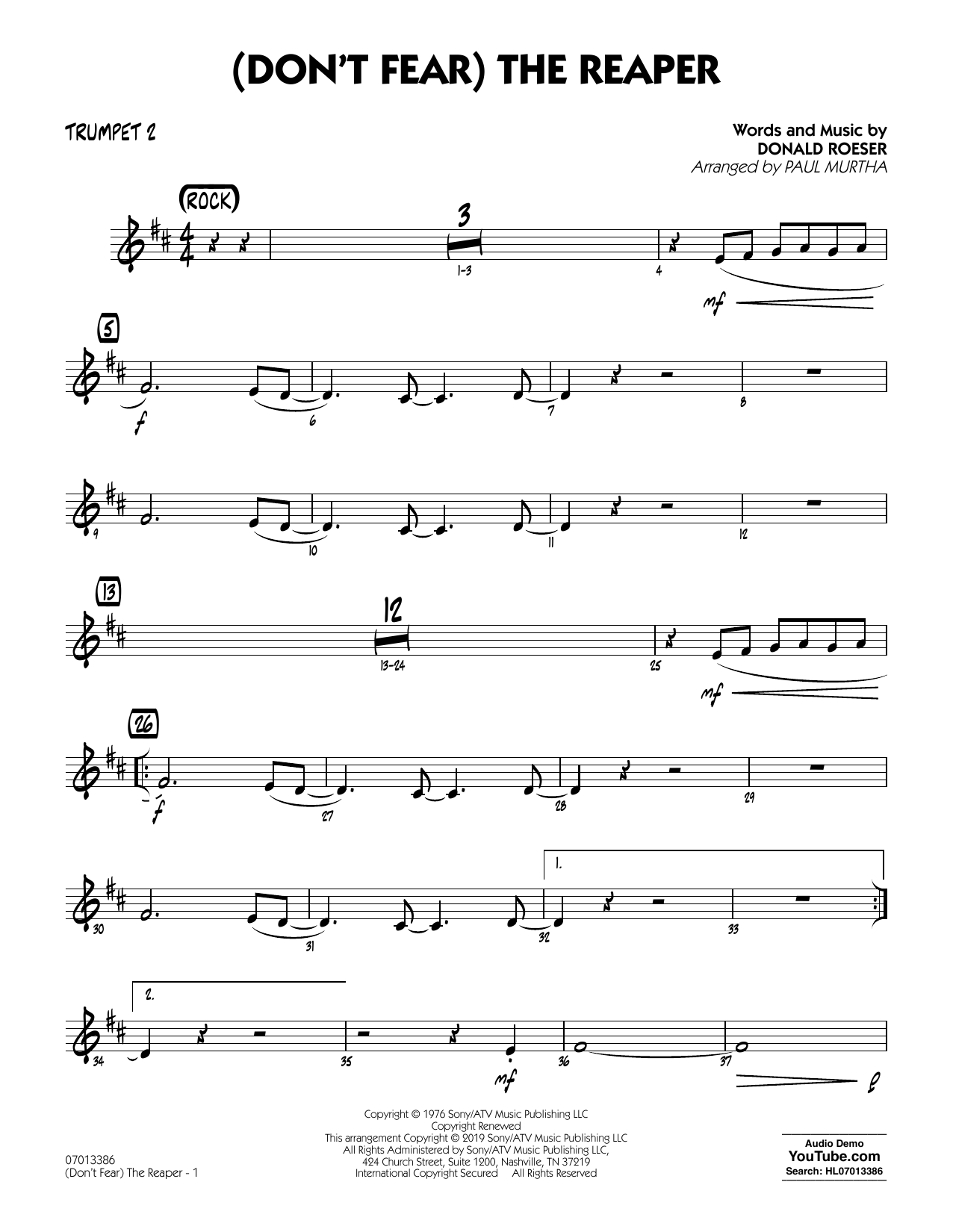 Blue Oyster Cult (Don't Fear) The Reaper (arr. Paul Murtha) - Trumpet 2 sheet music preview music notes and score for Jazz Ensemble including 2 page(s)
