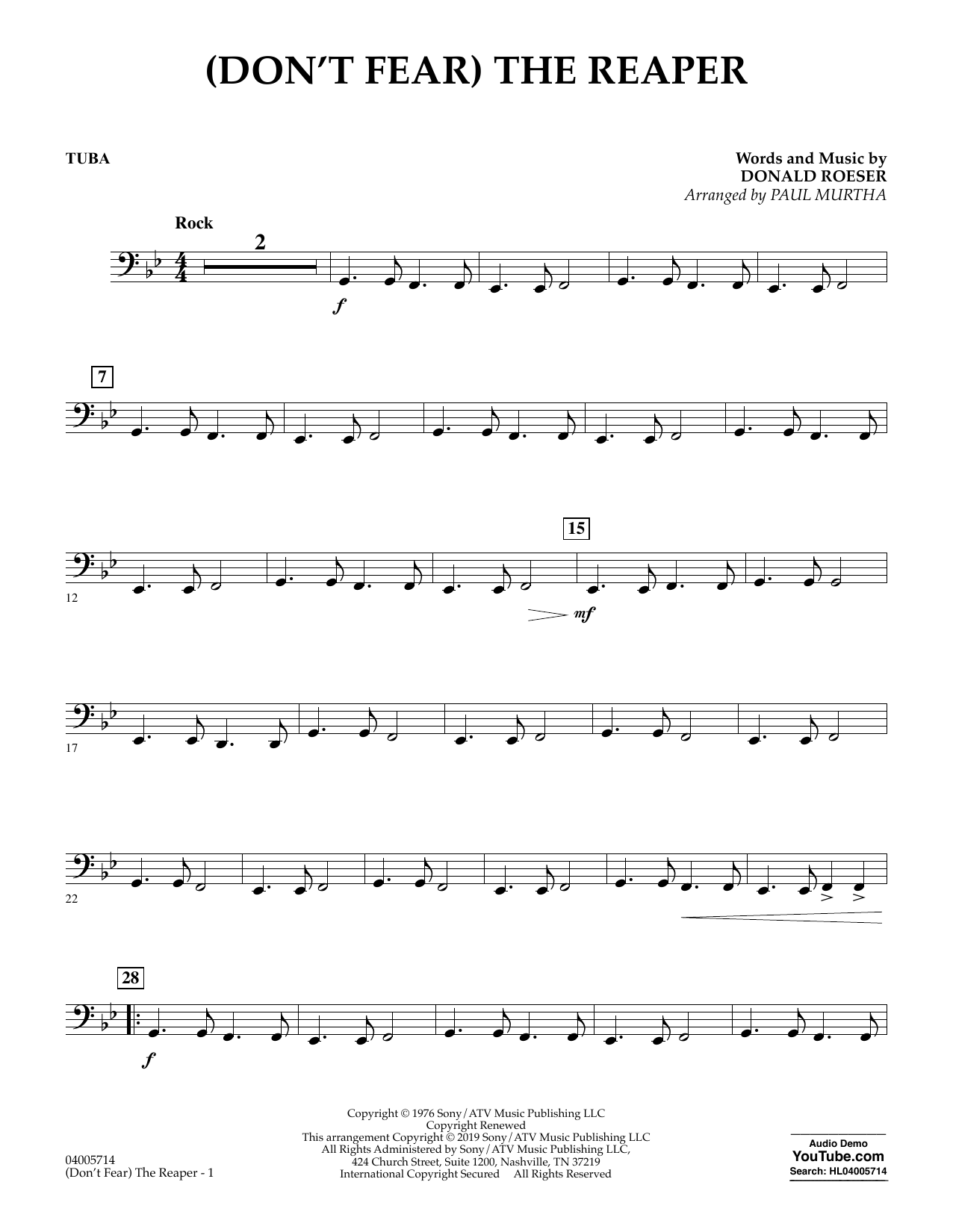 Blue Oyster Cult (Don't Fear) The Reaper (arr. Paul Murtha) - Tuba sheet music preview music notes and score for Jazz Ensemble including 2 page(s)