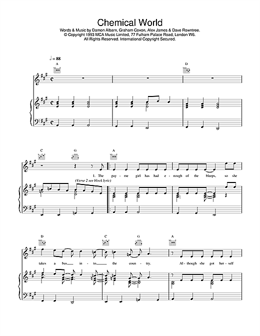 Blur Chemical World sheet music notes and chords