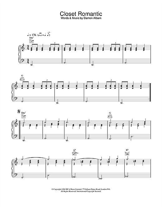 Blur Closet Romantic sheet music notes and chords