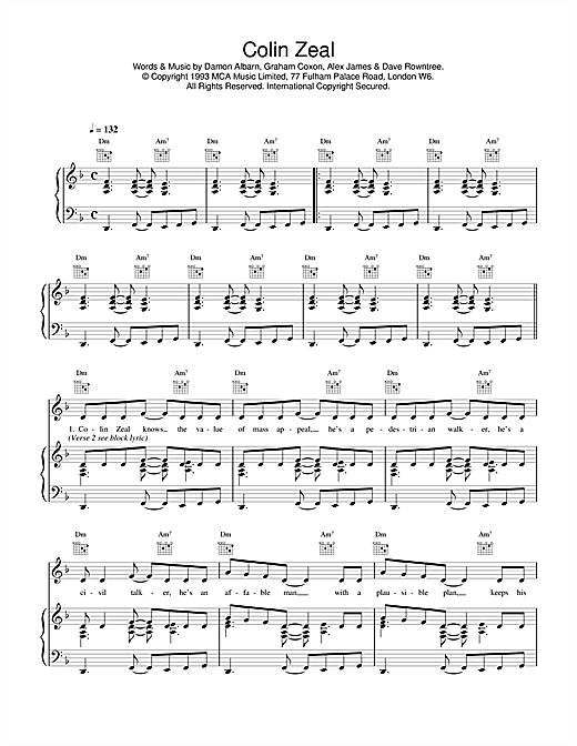 Blur Colin Zeal sheet music notes and chords