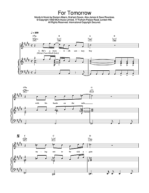 Blur For Tomorrow sheet music notes and chords