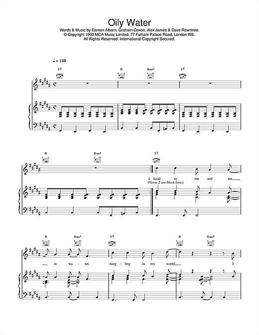 Blur Oily Water sheet music notes and chords