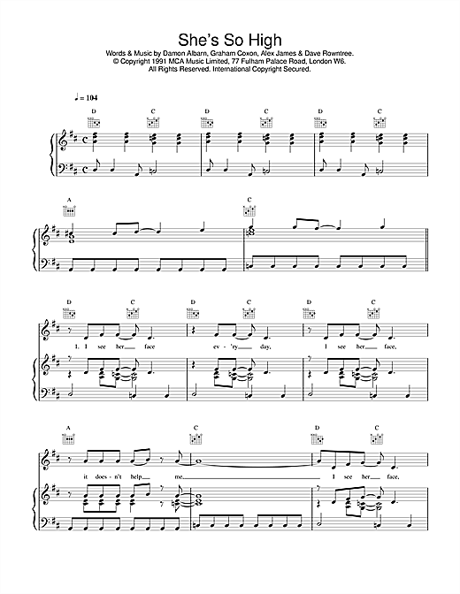 Blur She's So High sheet music notes and chords