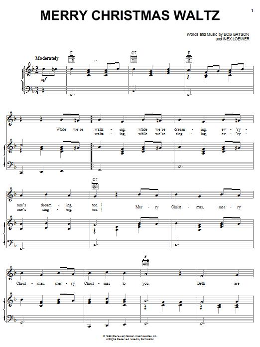 Bob Batson Merry Christmas Waltz sheet music notes and chords