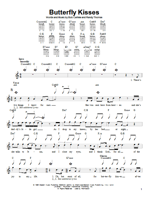 Bob Carlisle Butterfly Kisses sheet music preview music notes and score for Easy Guitar including 3 page(s)