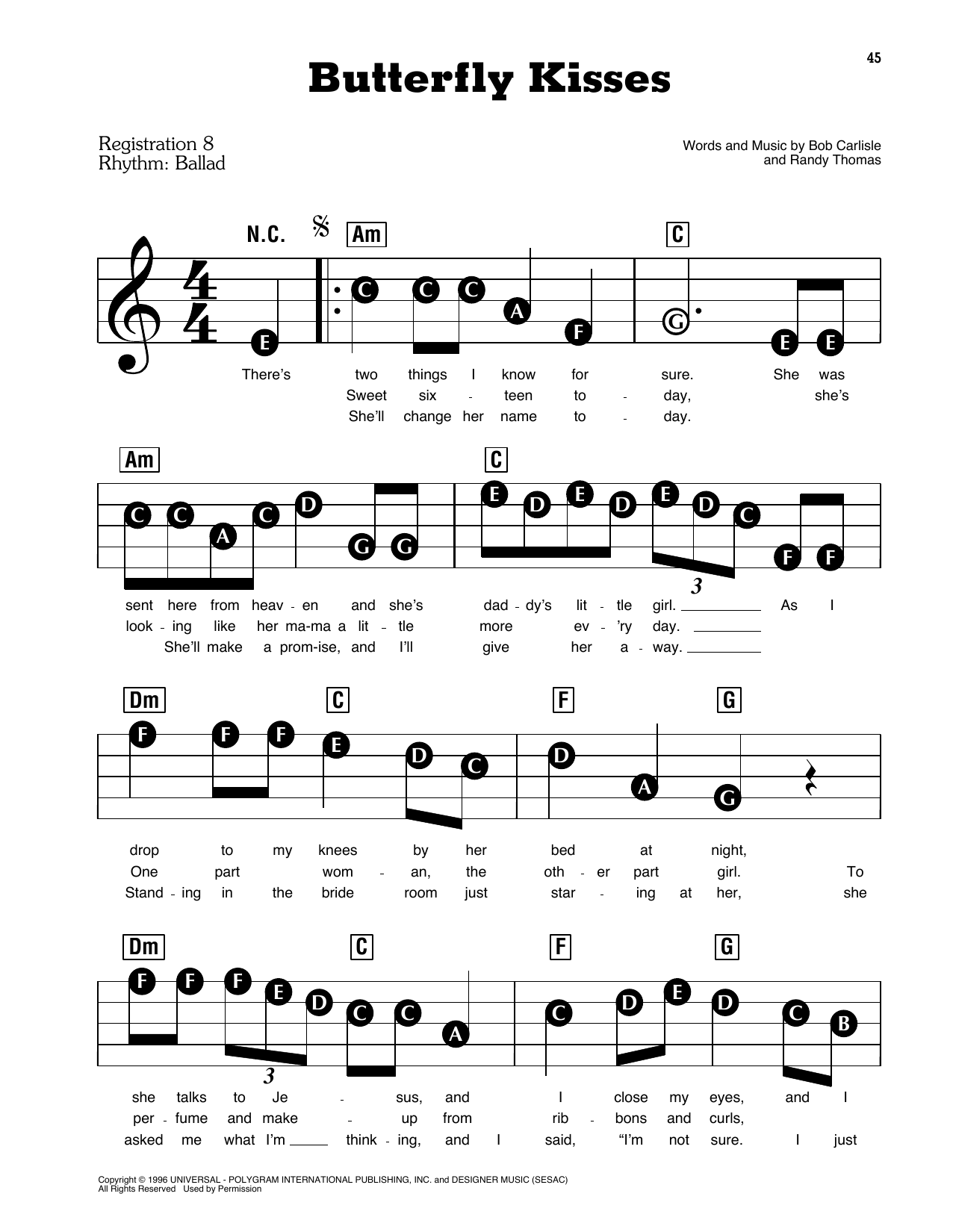 Bob Carlisle Butterfly Kisses sheet music preview music notes and score for E-Z Play Today including 5 page(s)