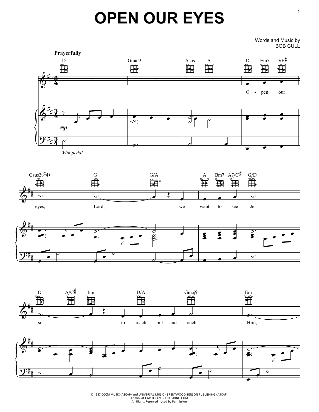 Bob Cull Open Our Eyes sheet music notes and chords