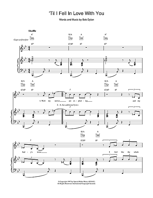 Bob Dylan 'Til I Fell In Love With You sheet music notes and chords