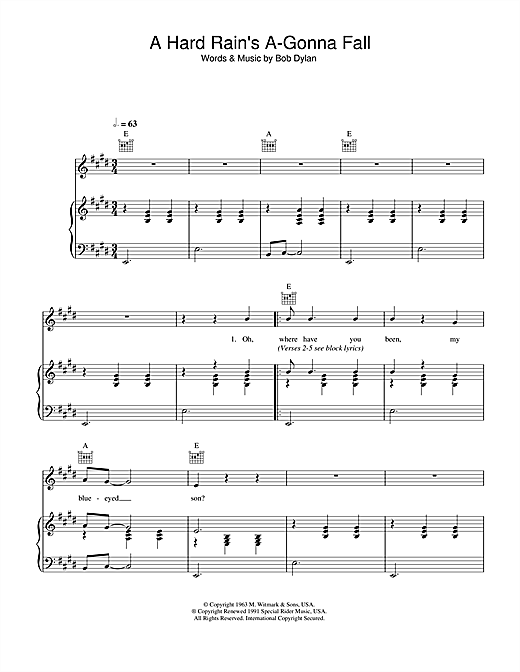 Download Bob Dylan 'A Hard Rain's A-Gonna Fall' Digital Sheet Music Notes & Chords and start playing in minutes