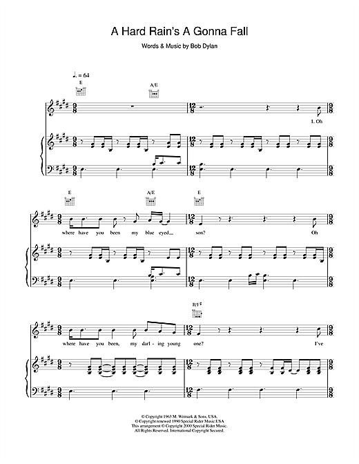 Bob Dylan A Hard Rain's A Gonna Fall sheet music notes and chords