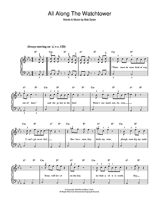 Download Bob Dylan 'All Along The Watchtower' Digital Sheet Music Notes & Chords and start playing in minutes
