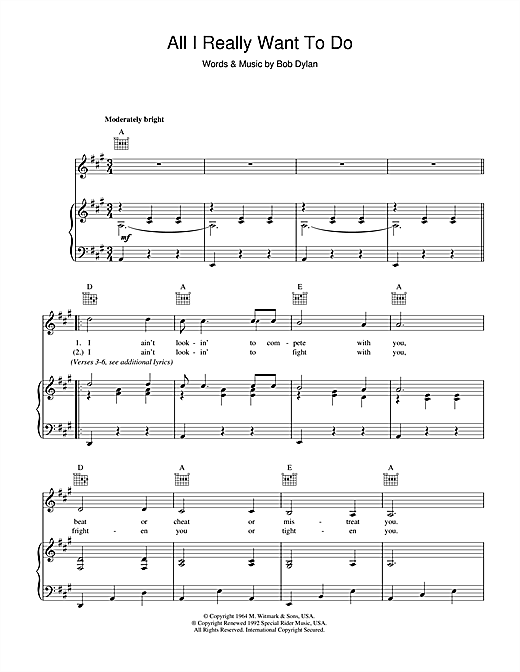 Download Bob Dylan 'All I Really Want To Do' Digital Sheet Music Notes & Chords and start playing in minutes