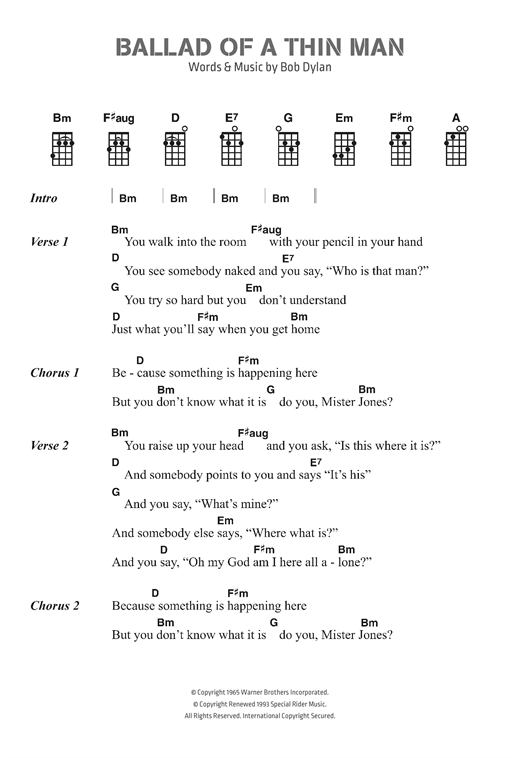 Download Bob Dylan 'Ballad Of A Thin Man' Digital Sheet Music Notes & Chords and start playing in minutes