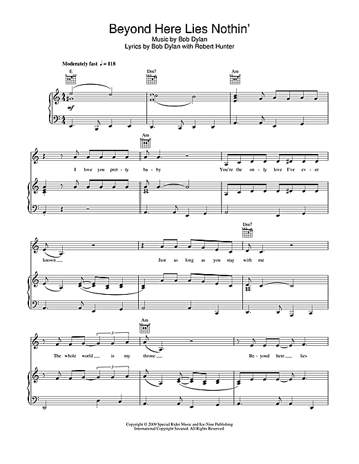 Download Bob Dylan 'Beyond Here Lies Nothin'' Digital Sheet Music Notes & Chords and start playing in minutes