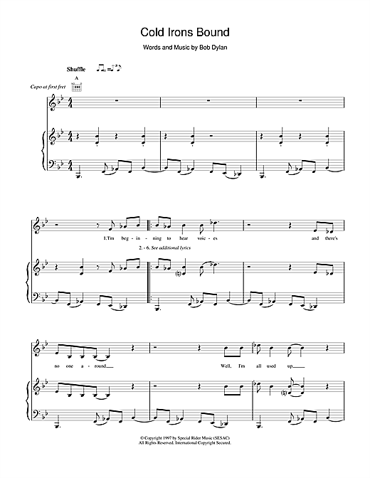 Bob Dylan Cold Irons Bound sheet music notes and chords