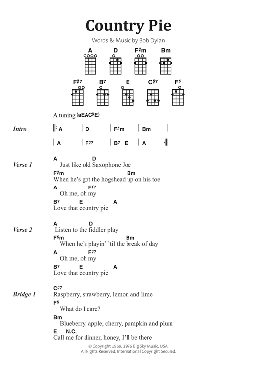 Download Bob Dylan 'Country Pie' Digital Sheet Music Notes & Chords and start playing in minutes